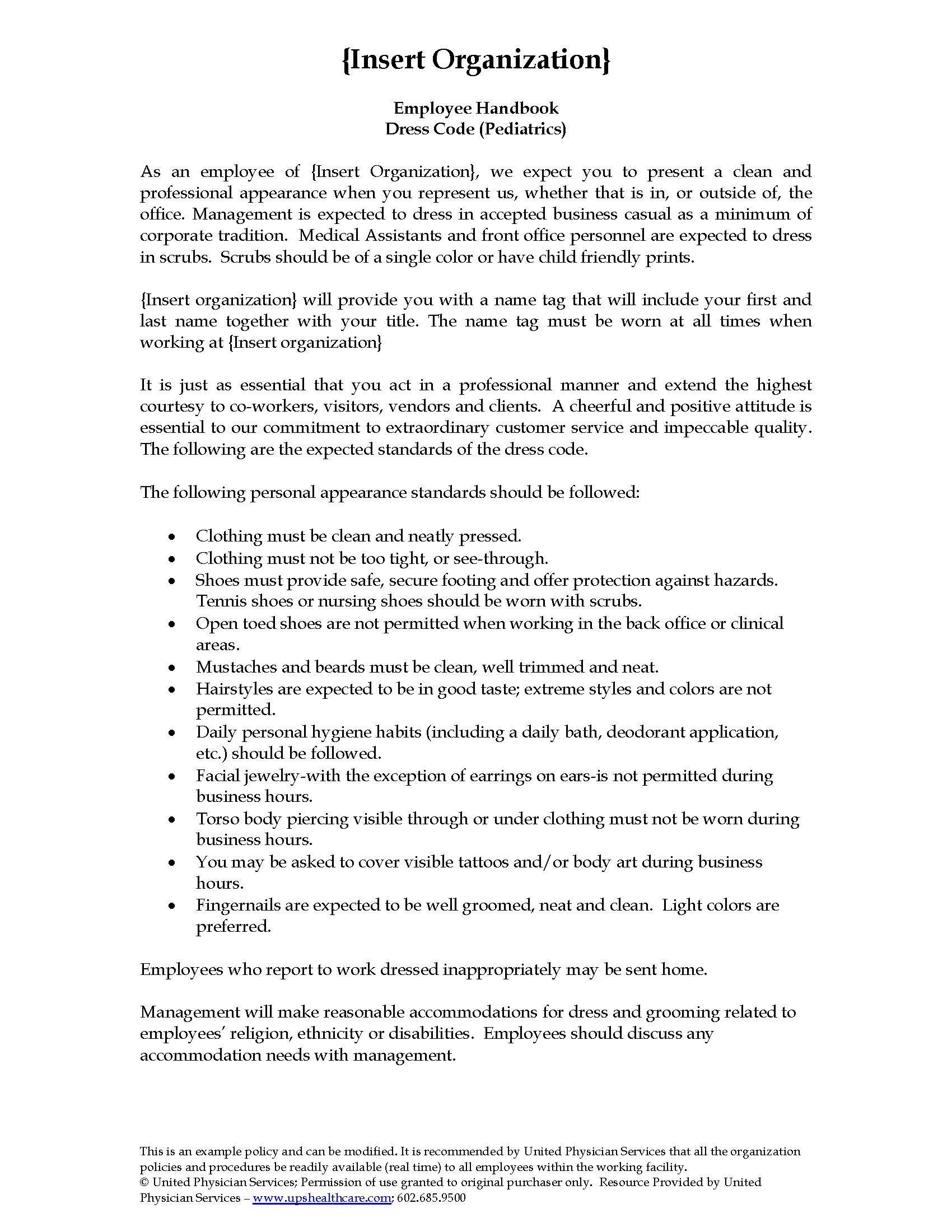 dress code pediatrics united physician services