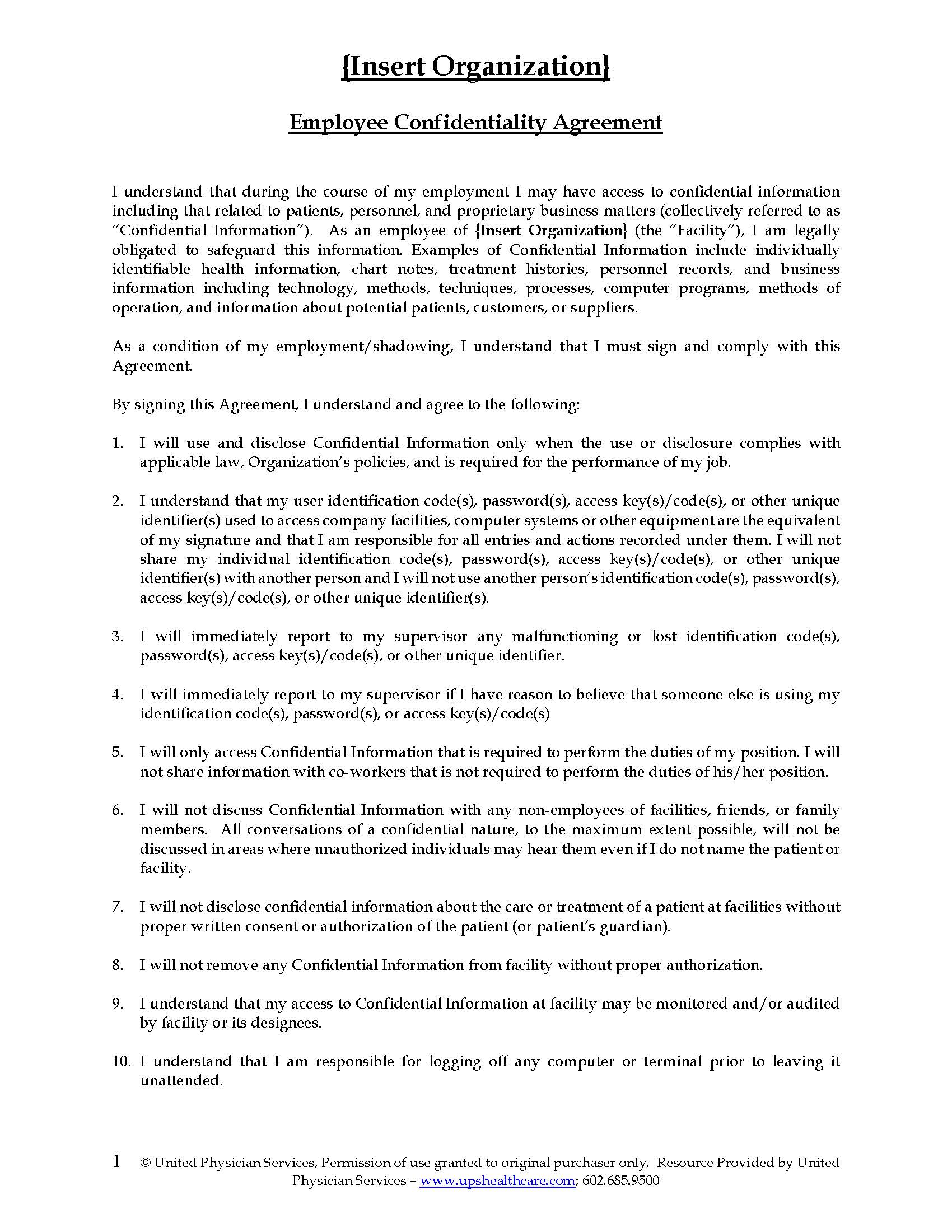 Employee Confidentiality Agreement United Physician Services