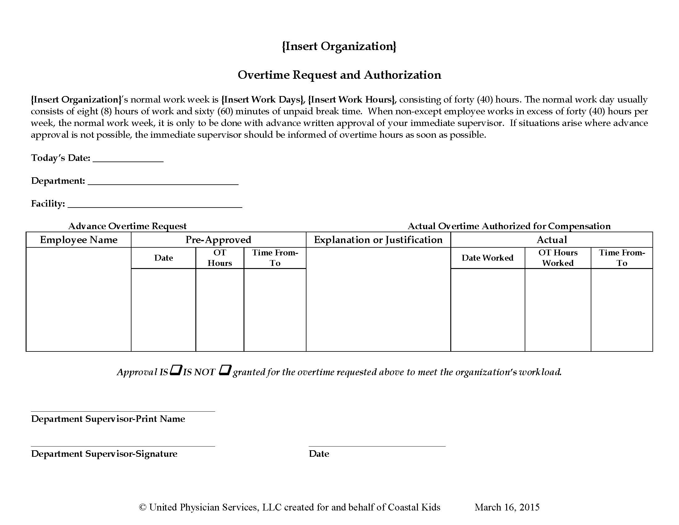 Overtime Request and Authorization Form | United Physician Services