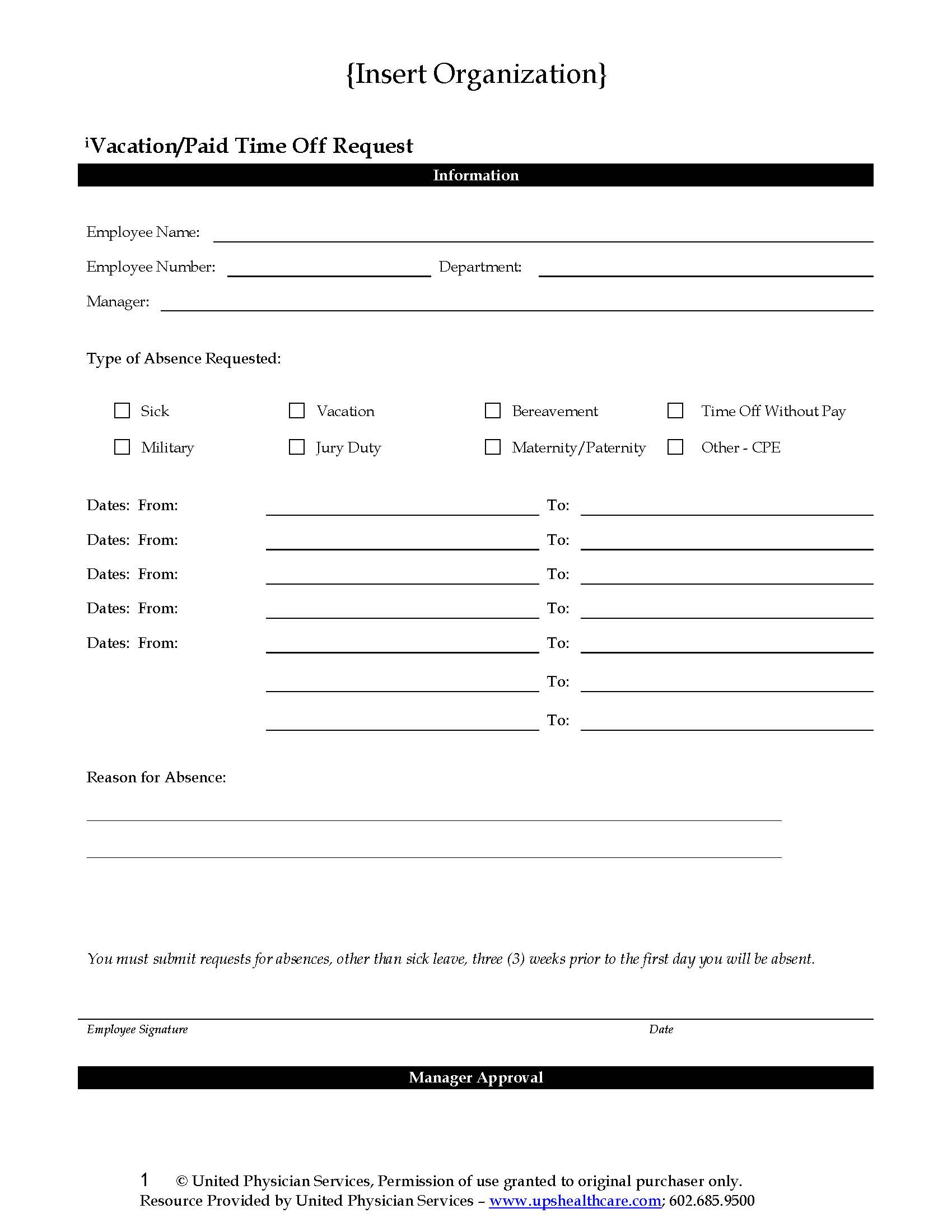 vacationpto request form united physician services
